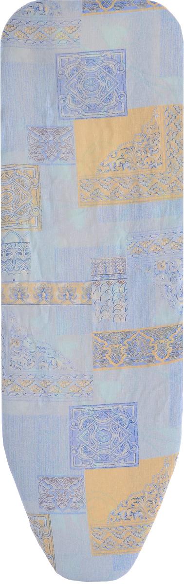 Чехол для гладильной доски Eva Грация, цвет: синий, голубой, бежевый, 125 х 47 смGC204/30Чехол Eva Грация, выполненный из хлопка со вспененным слоем, продлит срок службы вашей гладильнойдоски. Чехол снабжен стягивающим шнуром, припомощи которого вы легко отрегулируетеоптимальное натяжение чехла и зафиксируете его нарабочей поверхности гладильной доски.Размер чехла: 125 х 47 см. Максимальный размер доски: 116 х 47 см.