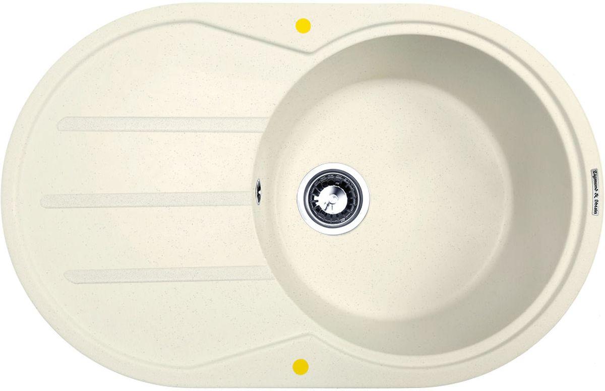 Мойка кухонная Zigmund & Shtain Kreis Ov 770 D, врезная, 1 чаша, крыло, цвет: каменная сольBL505Zigmund & Shtain KREIS OV 770 D, кухонная мойка, иск.гранит, 1чаша-крыло, форма овал, глубина-21, Цвет каменная соль