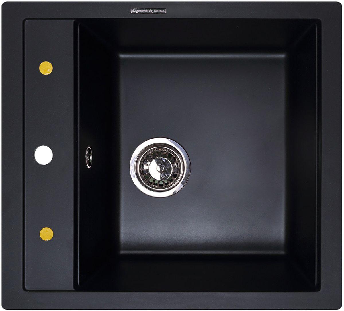 Мойка кухонная Zigmund & Shtain Platz 465, врезная, 1 чаша, цвет: черный базальт20082Zigmund & Shtain PLATZ 465, кухонная мойка, иск.гранит, 1чаша, форма-квадрат, глубина -21 см, ЦВЕТ черный базальт