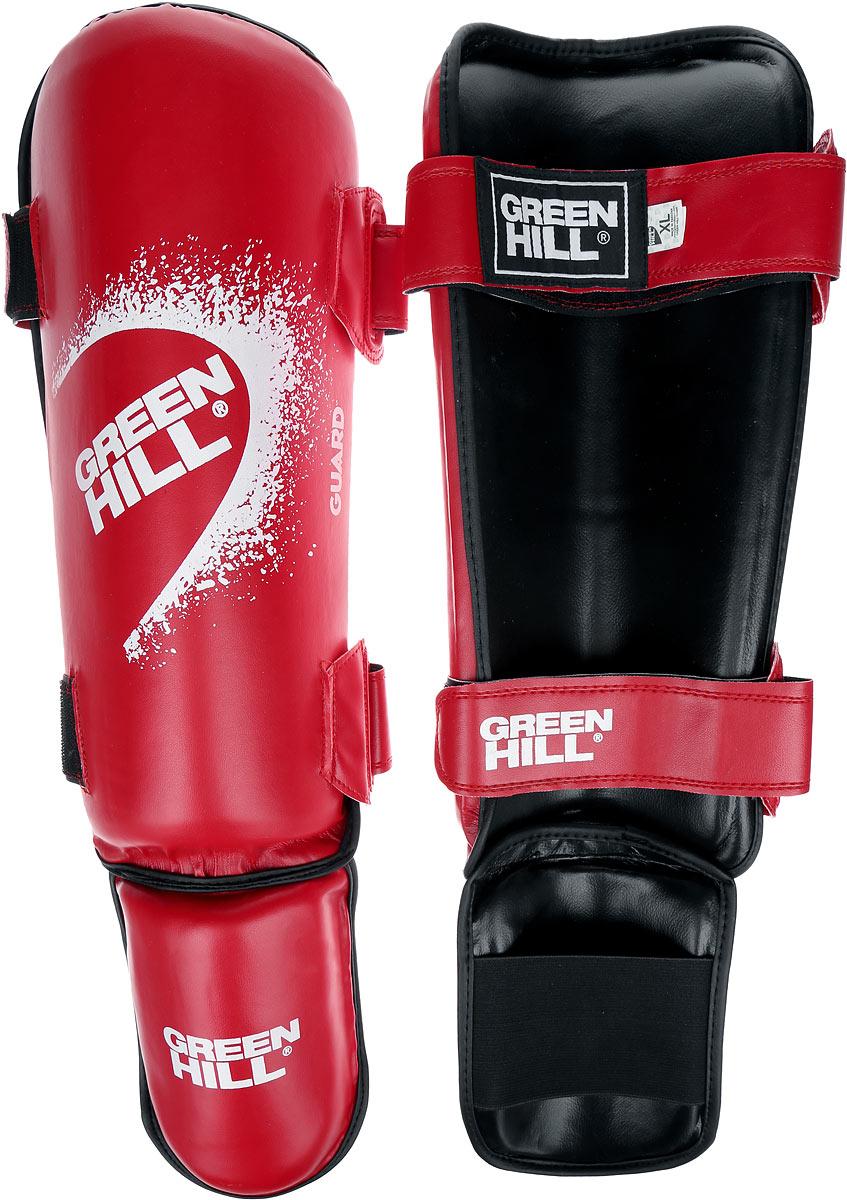 Защита голени и стопы Green Hill Guard, цвет: красный, белый. Размер XL. SIG-0012