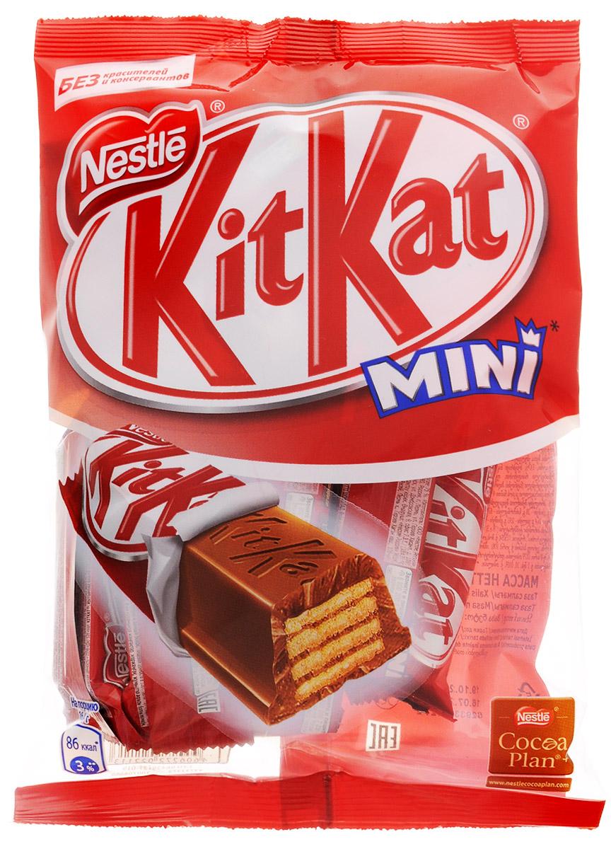 KitKat Mini молочный шоколад с хрустящей вафлей, 202 г4750001944211Мини формат батончика KitKat с хрустящей вафлей в молочном шоколаде. Удобный формат к чаю, чтобы взять с собой в дорогу. Шоколад в умеренном количестве может быть частью сбалансированного рациона.