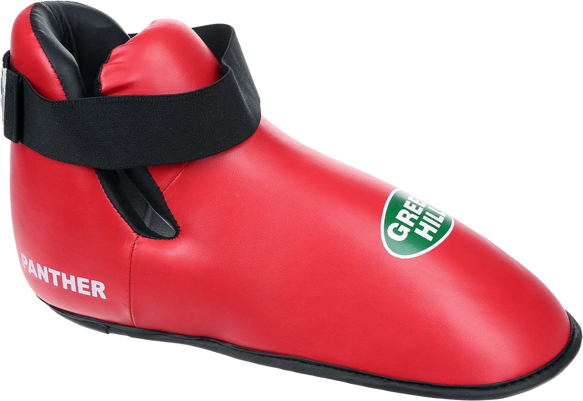 Футы Green Hill Panther, цвет: красный, черный. Размер XL. KBSP-3076AP-0047Футы Green Hill Panther применяются для занятий кикбоксингом. Выполнены из высококачественной искусственной кожи, наполнитель - вспененный полимер. Резинки на липучке в задней части футов обеспечивают лучшую фиксацию ноги.Длина стопы: 32,5 см. Ширина: 13,5 см.Размер ноги должен быть меньше на 1-1,5 см.