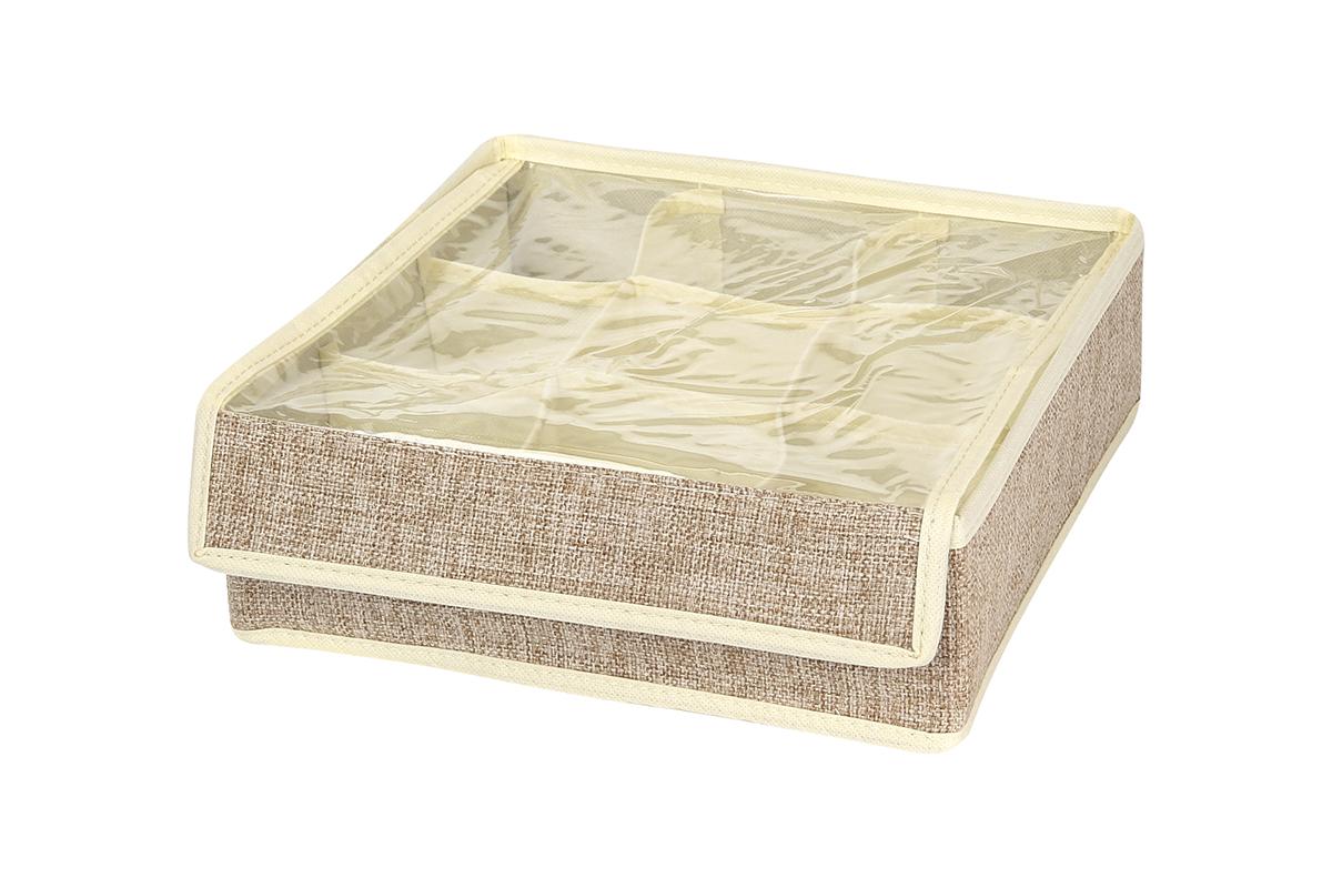 Кофр для хранения EL Casa, цвет: светло-бежевый, 9 секций, 26 х 26 х 9 см1004900000360Кофр для хранения вещей EL Casa изготовлен из льна, который обеспечивает естественную вентиляцию, пропускает воздух и задерживает пыль. Изделие имеет жесткую конструкцию благодаря вставкам из плотного картона. Кофр специально предназначен для защиты вашей одежды от воздействия негативных внешних факторов: влаги и сырости, моли, выгорания, грязи.Кофр с 9 секциями подходит для хранения нижнего белья, колготок, носков и другой одежды. Он удобно складывается и раскладывается. В сложенном виде изделие занимает минимум места, его легко хранить и перевозить. Прозрачная крышка на липучке, выполненная из ПВХ, позволяет видеть содержимое кофра, не открывая его. Изделие поможет хранить вещи компактно и удобно. Подходит для размещения в шкафу, комоде.