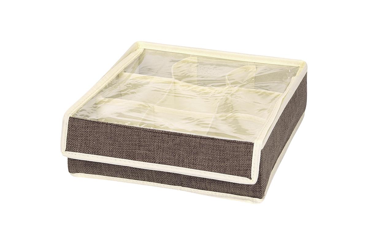 Кофр для хранения EL Casa, цвет: коричневый, 9 секций, 26 х 26 х 9 см74-0120Кофр для хранения EL Casa изготовлен из льна, который обеспечивает естественную вентиляцию, пропускает воздух и задерживает пыль. Изделие имеет жесткую конструкцию благодаря вставкам из плотного картона. Кофр специально предназначен для защиты вашей одежды от воздействия негативных внешних факторов: влаги и сырости, моли, выгорания, грязи.Кофр с 9 секциями подходит для хранения нижнего белья, колготок, носков и другой одежды. Он удобно складывается и раскладывается. В сложенном виде изделие занимает минимум места, его легко хранить и перевозить. Прозрачная крышка на липучке, выполненная из ПВХ, позволяет видеть содержимое кофра, не открывая его. Изделие поможет хранить вещи компактно и удобно. Подходит для размещения в шкафу, комоде.