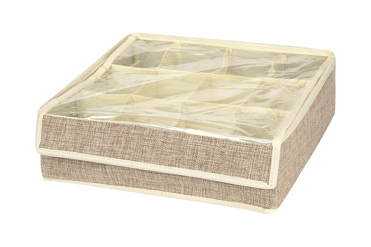 Кофр для хранения EL Casa, цвет: светло-бежевый, 12 секций, 32 х 32 х 10 см1004900000360Кофр для хранения EL Casa изготовлен из льна, который обеспечивает естественную вентиляцию, пропускает воздух и задерживает пыль. Изделие имеет жесткую конструкцию благодаря вставкам из плотного картона. Кофр специально предназначен для защиты вашей одежды от воздействия негативных внешних факторов: влаги и сырости, моли, выгорания, грязи.Кофр с 12 секциями подходит для хранения нижнего белья, колготок, носков и другой одежды. Он удобно складывается и раскладывается. В сложенном виде изделие занимает минимум места, его легко хранить и перевозить. Прозрачная крышка на липучке, выполненная из ПВХ, позволяет видеть содержимое кофра, не открывая его. Изделие поможет хранить вещи компактно и удобно. Подходит для размещения в шкафу, комоде.
