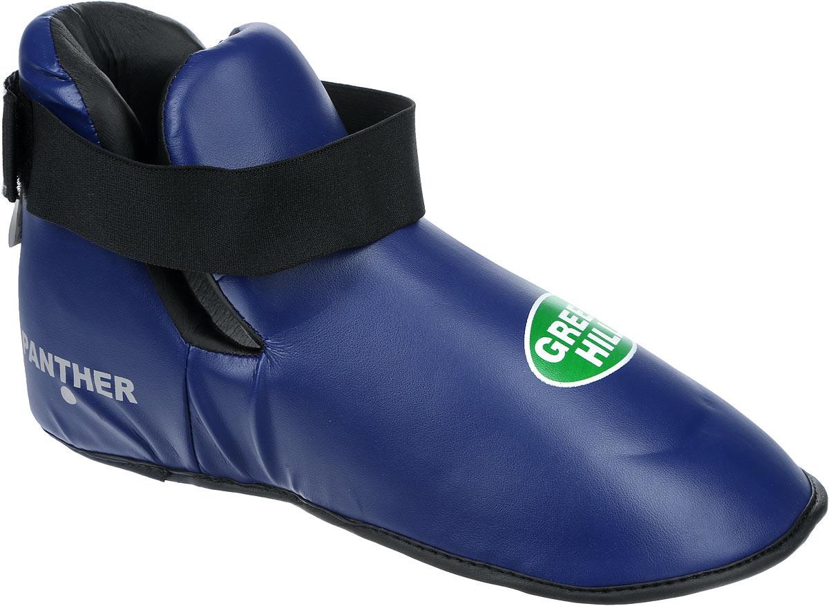 Футы Green Hill Panther, цвет: синий, черный. Размер L. KBSP-3076RGS-3558Футы Green Hill Panther применяются для занятий кикбоксингом. Выполнены из высококачественной искусственной кожи, наполнитель - вспененный полимер. Резинки на липучке в задней части футов обеспечивают лучшую фиксацию ноги.Длина стопы: 31 см. Ширина: 13 см.Размер ноги должен быть меньше на 1-1,5 см.