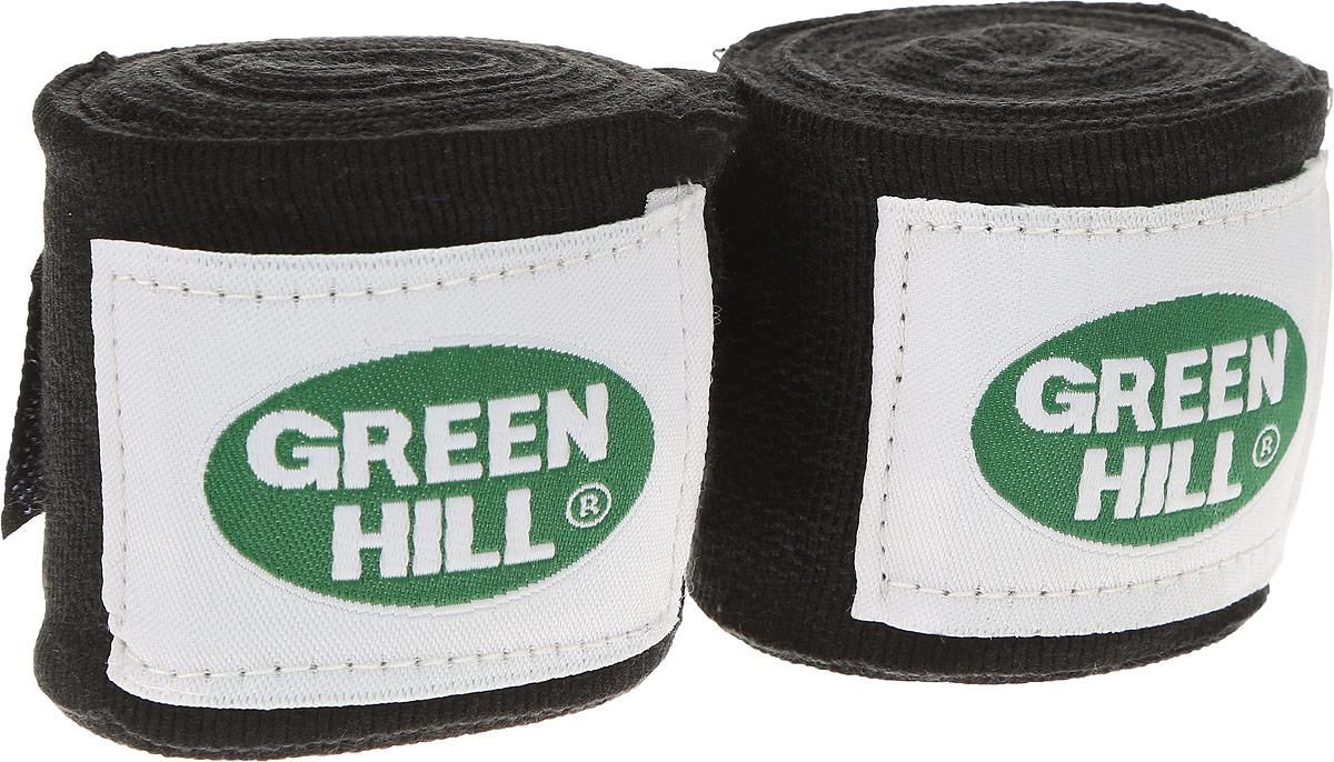 Бинт боксерский Green Hill, цвет: черный, белый, 3,5 м, 2 штKSO-10024WKFБоксерский бит Green Hill изготовлен из хлопка с добавлением эластана. Он растягивается, обеспечивает плотное стягивание кистей рук, крепится на липучке. Боксерский бинт используется для бинтования кистей рук, для предотвращения травм суставов пальцев, обеспечивается такая защита путем плотного стягивания пальцев бинтом друг к другу, что создает единую площадь удара и способствует распределению нагрузки. Бинт впитывает пот ладоней, не давая загрязняться внутренней части перчаток.Длина бинтов: 3,5 м.Ширина бинтов: 5 см.