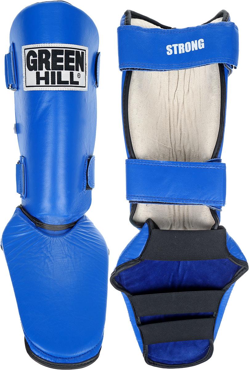 Защита голени и стопы Green Hill Strong, цвет: синий, черный. Размер S. SIPS-6135aSC-61311SЗащита голени и стопы Green Hill Strong необходима при занятиях спортом для защиты пальцев и суставов от вывихов, ушибов и прочих повреждений. Выполнена из высококачественной натуральной кожи. Наполнитель изготовлен из вспененного полимера.Защита закрепляется при помощи ремней на липучках. Защита правильно подобранного размера надежно сидит на ноге, не спадает и не сваливается во время поединка.Длина голени: 31 см.Ширина голени: 14 см.Длина стопы: 19 см.Ширина стопы: 17 см.