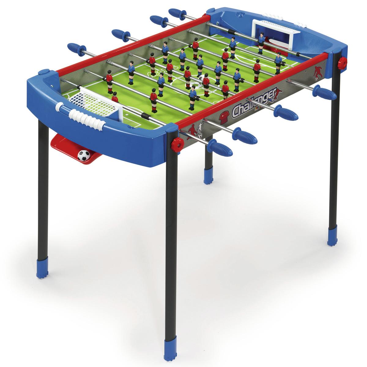 Футбольный стол Challenger raquo из спортивной серии Masters - размеры 106х69х74 см (длина, ширина, высота). Предназначен для детей от 6-и лет. Изготовлен из упрочнённого пластика и металла. В комплекте 2 пластиковых мяча.