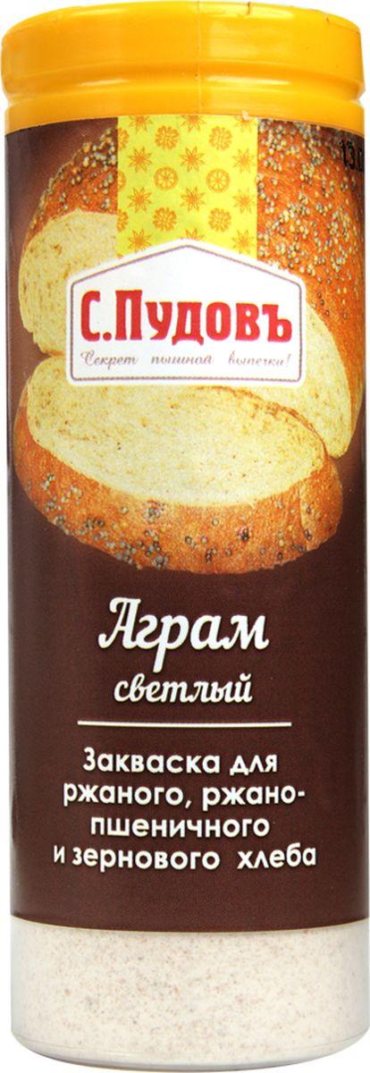 Пудовъ аграм светлый, 60 г0120710Сухая закваска Аграм светлый используется при выпечке ржаного, ржано-пшеничного и зернового хлеба. Она предназначена для повышения эластичности мякиша, улучшения вкуса и аромата готовых изделий. Рекомендуемая дозировка: 1-2% к массе муки.