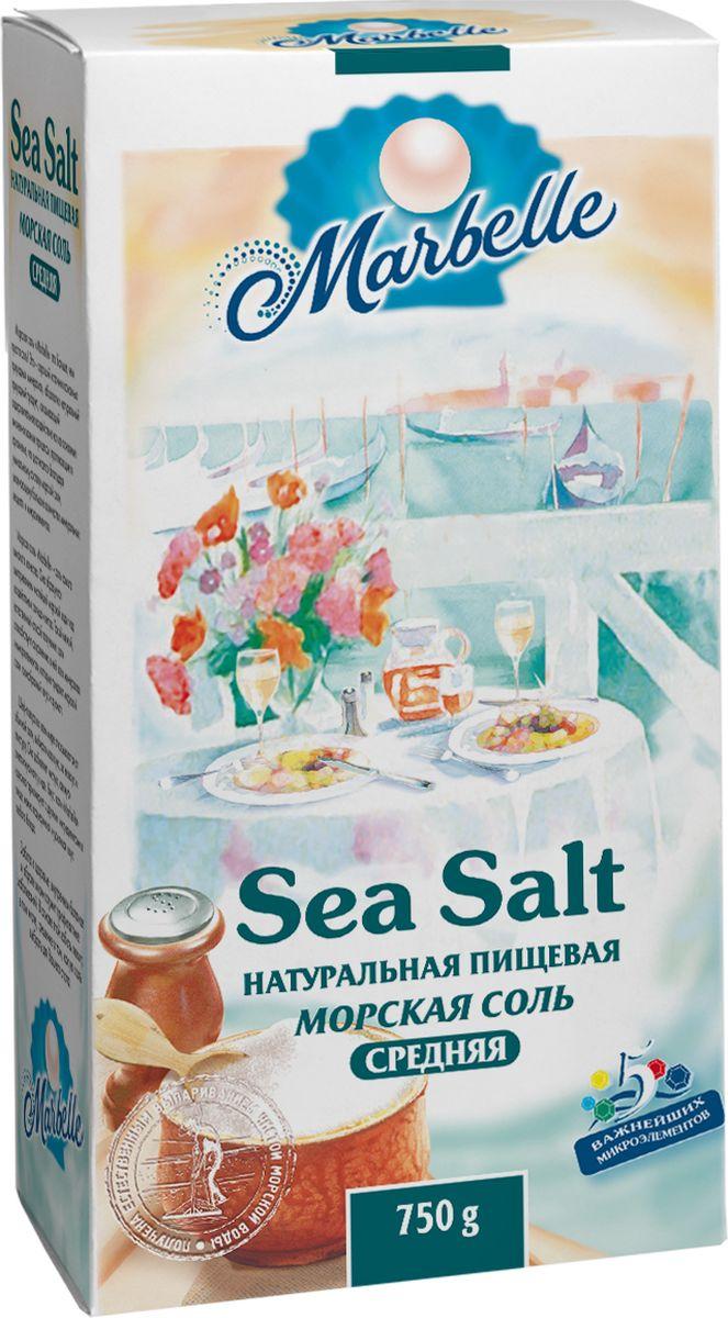 Marbellе морская соль средняя, 750 г4607012291431Натуральная морская соль среднего помола - богатый источник минеральных веществ и полезных микроэлементов, которые оказывают общее оздоровительное воздействие на процессы, протекающие в организме, а также насыщает его важными компонентами.