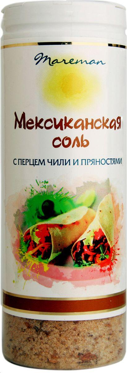 Mareman соль Мексиканская, 140 г58306Ароматная соль премиум качества с классическим для Мексики сочетанием приправ и пряностей.Соль упакована в пластиковые солонки с удобной крышкой-дозатором, легко использовать для пищи во время приготовления и за столом.Морская соль ТМ Mareman Мексиканская придаст потрясающий вкус и наполнит блюда изысканным ароматом.