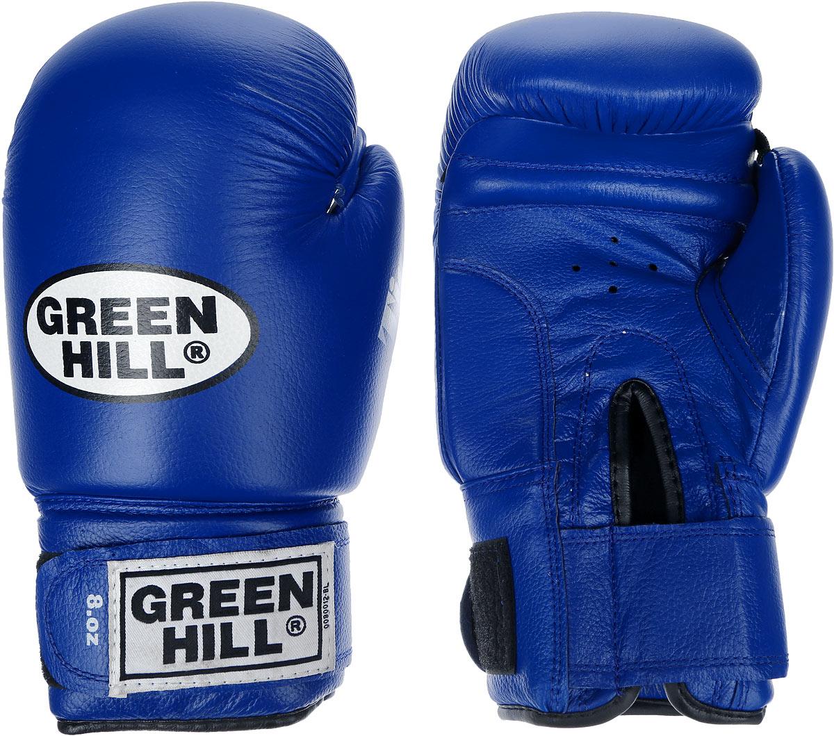 Перчатки боксерские Green Hill Tiger, цвет: синий, белый. Вес 8 унций. BGT-2010сAIRWHEEL Q3-340WH-BLACKБоевые боксерские перчатки Green Hill Tiger применяются как для соревнований, так и для тренировок. Верх выполнен из натуральной кожи, вкладыш - предварительно сформированный пенополиуретан. Манжет на липучке способствует быстрому и удобному надеванию перчаток, плотно фиксирует перчатки на руке. Отверстия в области ладони позволяют создать максимально комфортный терморежим во время занятий.В перчатках применяется технология антинокаут.