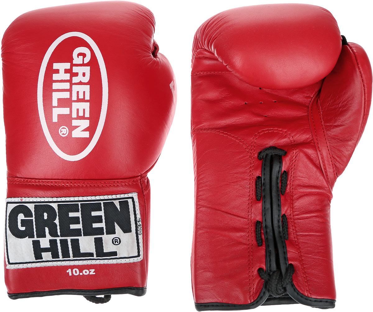 Перчатки боксерские Green Hill Force, цвет: красный, белый. Вес 10 унций. BGF-1215G-2036110Боксерские перчатки Green Hill Force предназначены для использования профессионалами и любителями. Верх выполнен из натуральной кожи, наполнитель - из вспененного полимера. Отверстия в области ладони позволяет создать максимально комфортный терморежим во время занятий. Манжет на шнуровке способствует быстрому и удобному надеванию перчаток, плотно фиксирует перчатки на руке.