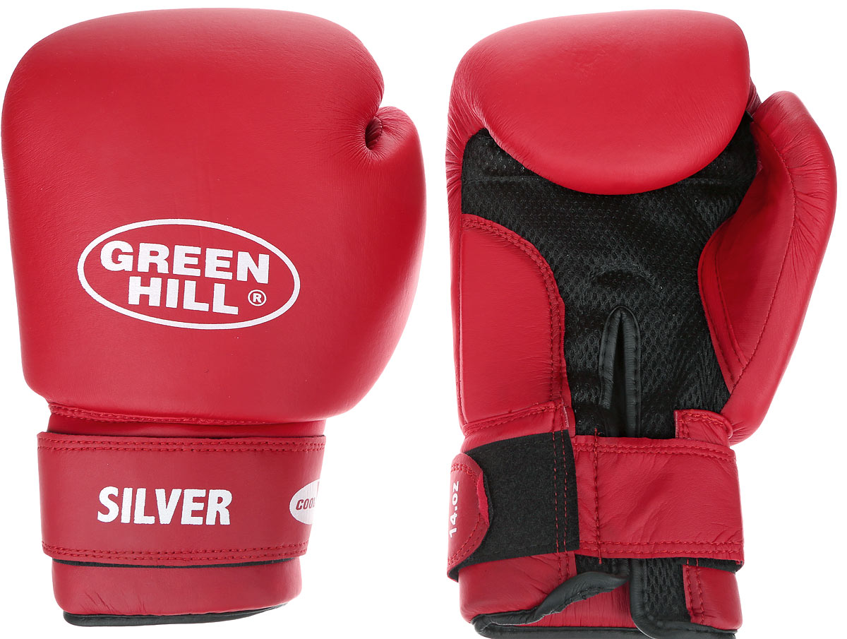 Перчатки боксерские Green Hill Silver, цвет: красный, белый. Вес 14 унций. BGS-2039AIRWHEEL Q3-340WH-BLACKБоксерские перчатки Green Hill Silver подойдут для легких спаррингов и тренировок. Верх выполнен из высококачественной искусственной кожи, наполнитель - из вспененного полимера. Материал на ладони выполнен по технологии, которая позволяет руке дышать. Манжет на липучке способствует быстрому и удобному надеванию перчаток, плотно фиксирует перчатки на руке.