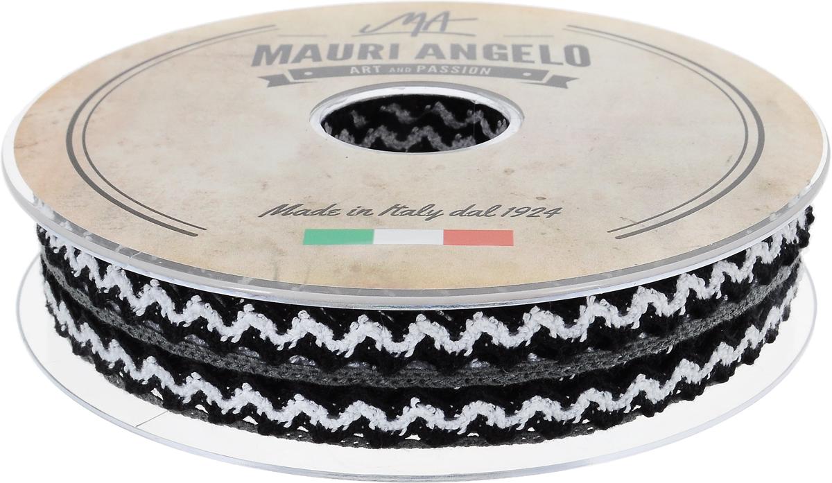 Лента кружевная Mauri Angelo, цвет: черный, белый, 1,45 см х 20 мC0042416Декоративная кружевная лента Mauri Angelo выполнена из высококачественного полиэстера. Кружево применяется для отделки одежды, постельного белья, а также в оформлении интерьера, декоративных панно, скатертей, тюлей, покрывал. Главные особенности кружева - воздушность, тонкость, эластичность, узорность.Такая лента станет незаменимым элементом в создании рукотворного шедевра.