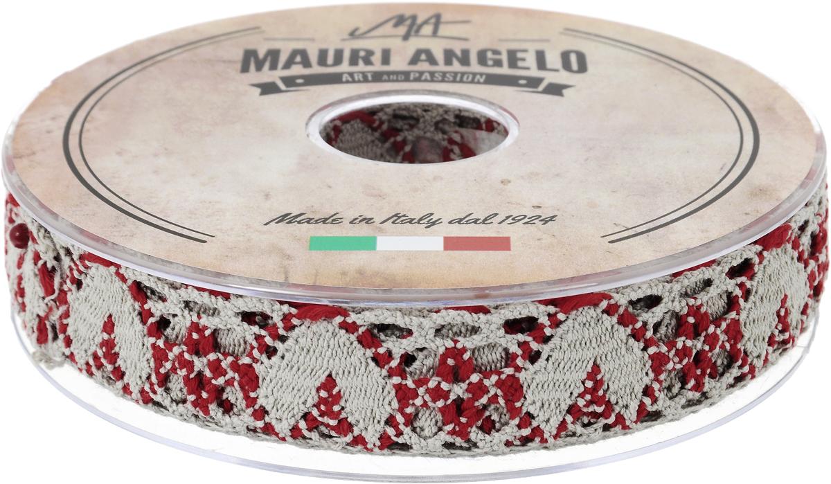 Лента кружевная Mauri Angelo, цвет: серый, красный, 2,7 см х 10 мNLED-454-9W-BKДекоративная кружевная лента Mauri Angelo - текстильное изделие без тканой основы, в котором ажурный орнамент и изображения образуются в результате переплетения нитей. Кружево применяется для отделки одежды, белья в виде окаймления или вставок, а также в оформлении интерьера, декоративных панно, скатертей, тюлей, покрывал. Главные особенности кружева - воздушность, тонкость, эластичность, узорность.Декоративная кружевная лента Mauri Angelo станет незаменимым элементом в создании рукотворного шедевра. Ширина: 2,7 см.Длина: 10 м.
