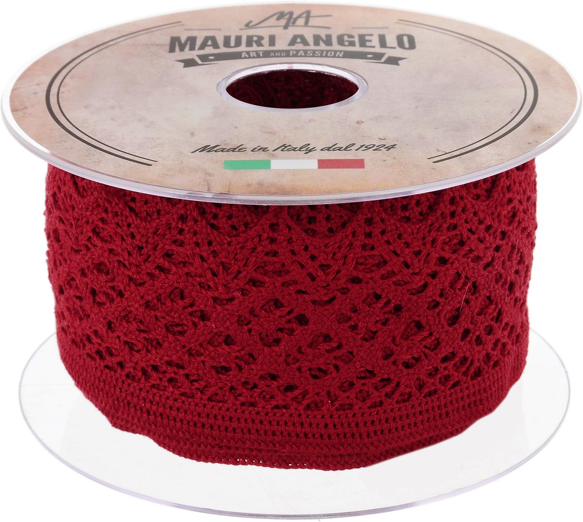 Лента кружевная Mauri Angelo, цвет: красный, 5,9 см х 10 мC0042416Декоративная кружевная лента Mauri Angelo - текстильное изделие без тканой основы, в котором ажурный орнамент и изображения образуются в результате переплетения нитей. Кружево применяется для отделки одежды, белья в виде окаймления или вставок, а также в оформлении интерьера, декоративных панно, скатертей, тюлей, покрывал. Главные особенности кружева - воздушность, тонкость, эластичность, узорность.Декоративная кружевная лента Mauri Angelo станет незаменимым элементом в создании рукотворного шедевра. Ширина: 5,9 см.Длина: 10 м.