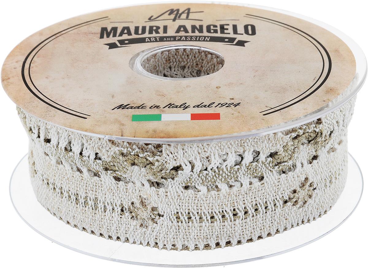 Лента кружевная Mauri Angelo, цвет: белый, бежевый, 4,6 см х 10 мRSP-202SДекоративная кружевная лента Mauri Angelo выполнена из высококачественных материалов. Кружево применяется для отделки одежды, постельного белья, а также в оформлении интерьера, декоративных панно, скатертей, тюлей, покрывал. Главные особенности кружева - воздушность, тонкость, эластичность, узорность.Такая лента станет незаменимым элементом в создании рукотворного шедевра.