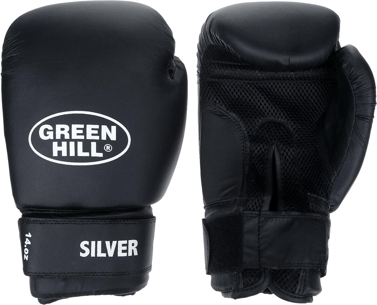 Перчатки боксерские Green Hill Silver, цвет: черный, белый. Вес 14 унций. BGS-2039SF 0085Боксерские перчатки Green Hill Silver подойдут для легких спаррингов и тренировок. Верх выполнен из высококачественной искусственной кожи, наполнитель - из вспененного полимера. Ладонь выполнена по технологии, которая позволяет руке дышать. Манжет на липучке способствует быстрому и удобному надеванию перчаток, плотно фиксирует перчатки на руке.