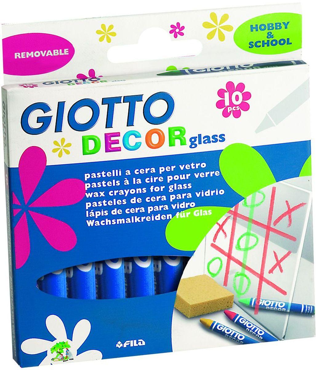 Giotto Набор восковых карандашей Decor Glass 10 шт441000Набор восковых карандашей Giotto Decor Glass создан специально для декорирования стекол и зеркал. Карандаши идеальны для тематического оформления к празднику, а также для хобби и игр. Все цвета легко стираются тряпкой, даже если они были нанесены долгое время назад.Легко отстирываются от одежды и отмываются от рук. В наборе 10 восковых карандашей. Каждый мелок упакован в индивидуальную бумажную рубашку. Длина - 90 мм, диаметр 9,5 мм.