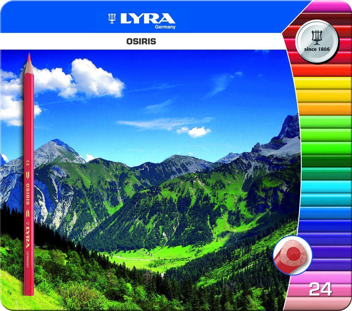 Lyra Набор цветных карандашей Osiris 24 шт72523WDНабор Lyra Osiris включает 24 цветных карандаша, выточенных из высококачественной древесины с верхним лаковым покрытием в несколько слоев.Трехгранная форма, повышенной эргономичности, способствует правильному захвату пальцами, равномерно распределяет нагрузку.Ударопрочные грифели содержат красящие пигменты высокой интенсивности, за счет чего на бумаге получаются насыщенные яркие цвета.Диаметр грифеля 2,8 мм, диаметр карандаша 7 мм.мм, диаметр карандаша 7 мм.