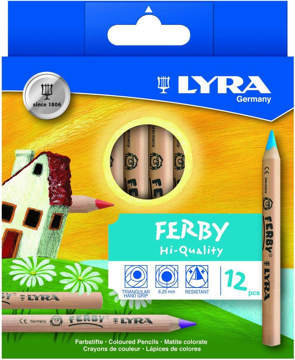 Lyra Набор цветных карандашей Ferby Nature 12 штL3611120Набор Lyra Ferby Nature включает 12 цветных карандашей из натурального нелакированного дерева. Длина карандаша 120 мм, высокопигментный грифель, эргономичная треугольная форма сечения карандаша, 6,25 мм диаметр грифеля.