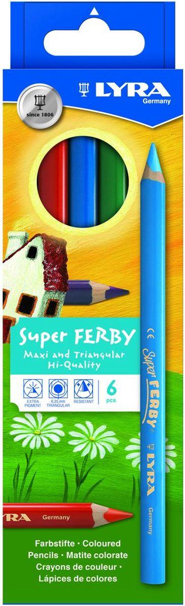 Lyra Набор цветных карандашей Super Ferby 6 шт72523WDНабор Lyra Super Ferby включает 6 цветных карандашей. Карандаши имеют эргономичную округло-треугольную форму. Набор включает в себя 6 ярких цветных карандашей.Карандаши изготовлены из натурального сертифицированного дерева, экологически чистые. Имеют ударопрочный неломающийся высокопигментный грифель, не требующий сильного нажатия.Диаметр грифеля 6,25 мм, длина карандаша 175 мм.