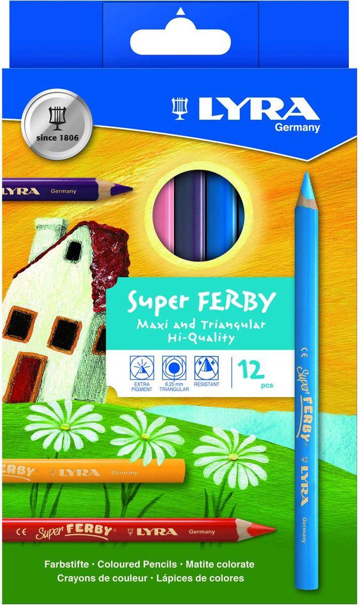 Lyra Набор цветных карандашей Super Ferby 12 шт72523WDНабор Lyra Super Ferby включает 12 цветных карандашей. Карандаши имеют эргономичную округло-треугольную форму. Набор включает в себя 12 ярких цветных карандашей.Карандаши изготовлены из натурального сертифицированного дерева, экологически чистые. Имеют ударопрочный неломающийся высокопигментный грифель, не требующий сильного нажатия.Диаметр грифеля 6,25 мм, длина карандаша 175 мм.