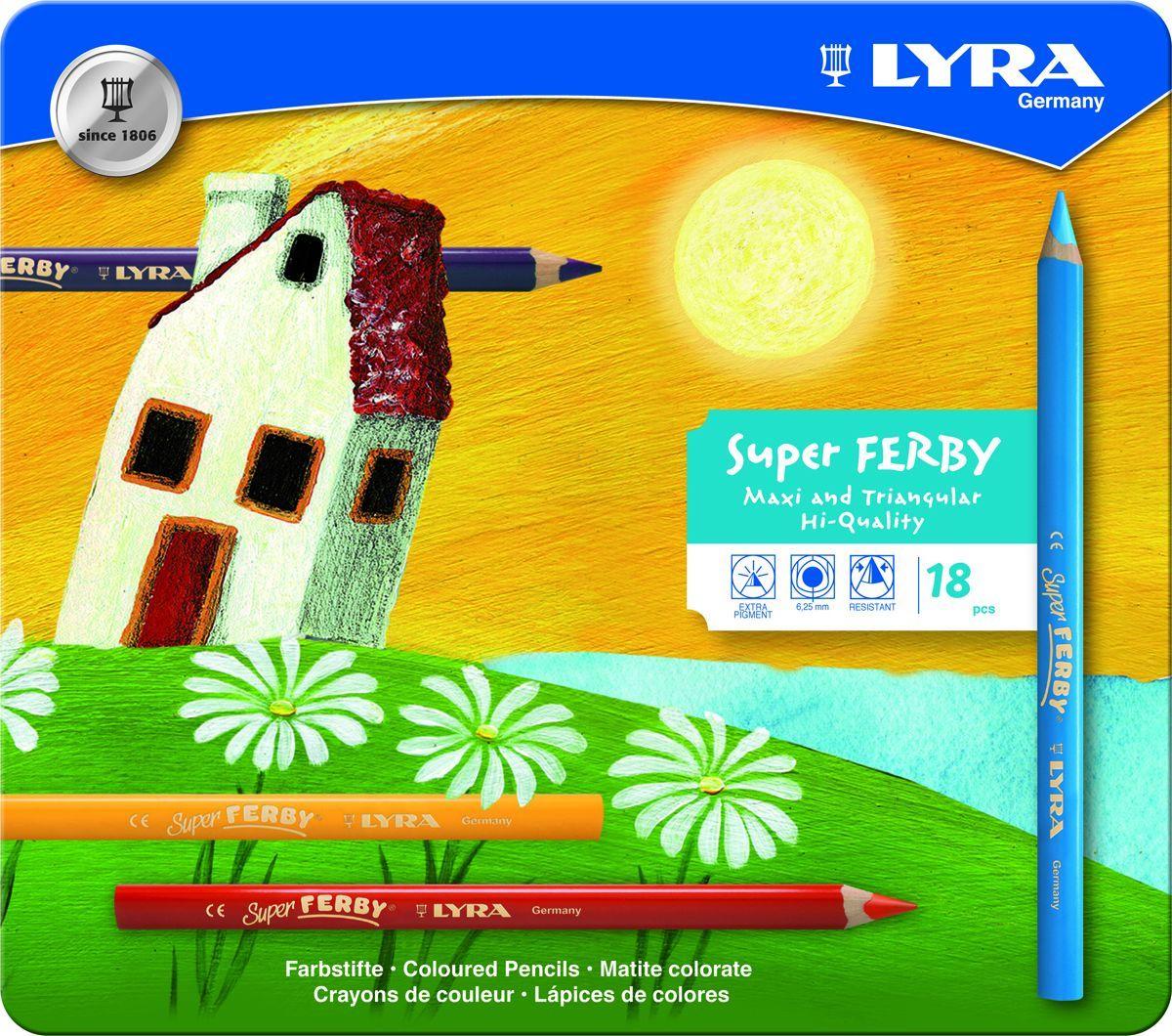 Lyra Набор цветных карандашей Super Ferby 18 шт2010440Набор Lyra Super Ferby включает 18 цветных карандашей. Карандаши имеют эргономичную округло-треугольную форму. Набор включает в себя 12 ярких цветных карандашей.Карандаши изготовлены из натурального сертифицированного дерева, экологически чистые. Имеют ударопрочный неломающийся высокопигментный грифель, не требующий сильного нажатия.Диаметр грифеля 6,25 мм, длина карандаша 175 мм.