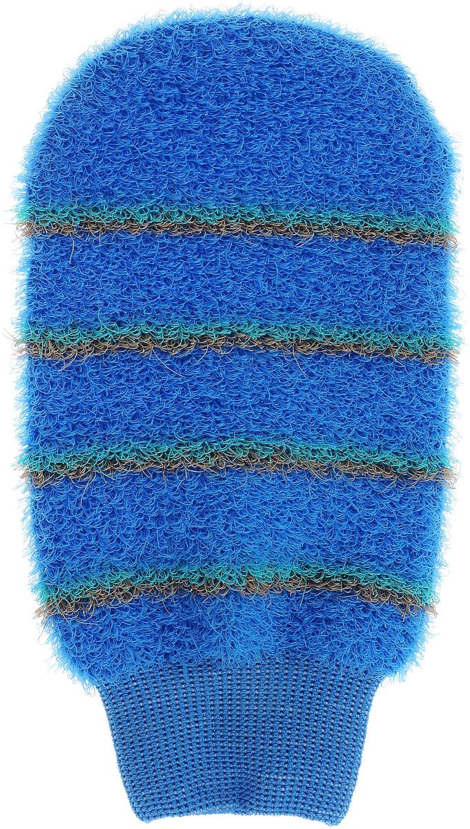 Мочалка-рукавица массажная Riffi, цвет: светло-синий5955_зеленый, красныйМочалка-рукавица массажная Riffi, цвет: светло-синий