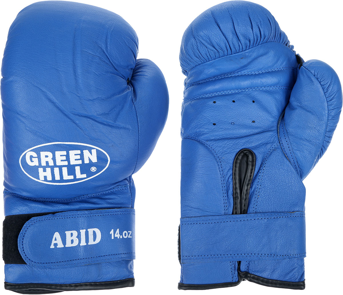 Перчатки боксерские Green Hill Abid, цвет: синий, белый. Вес 14 унцийPMF-2068Боксерские тренировочные перчатки Green Hill Abid выполнены из натуральной кожи. Они отлично подойдут для начинающих спортсменов. Мягкий наполнитель из очеса предотвращает любые травмы. Отверстия в районе ладони обеспечивают вентиляцию. Широкий ремень, охватывая запястье, полностью оборачивается вокруг манжеты, благодаря чему создается дополнительная защита лучезапястного сустава от травмирования. Застежка на липучке способствует быстрому и удобному надеванию перчаток, плотно фиксирует перчатки на руке.
