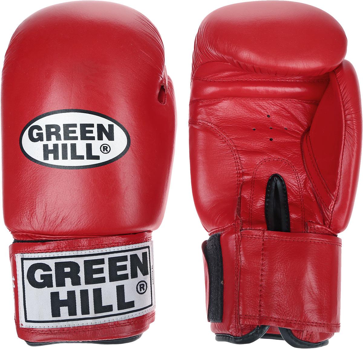 Перчатки боксерские Green Hill Tiger, цвет: красный, белый. Вес 14 унций. BGT-2010сBGS-1213bБоевые боксерские перчатки Green Hill Tiger применяются как для соревнований, так и для тренировок. Верх выполнен из натуральной кожи, вкладыш - предварительно сформированный пенополиуретан. Манжет на липучке способствует быстрому и удобному надеванию перчаток, плотно фиксирует перчатки на руке. Отверстия в области ладони позволяют создать максимально комфортный терморежим во время занятий.В перчатках применяется технология антинокаут.