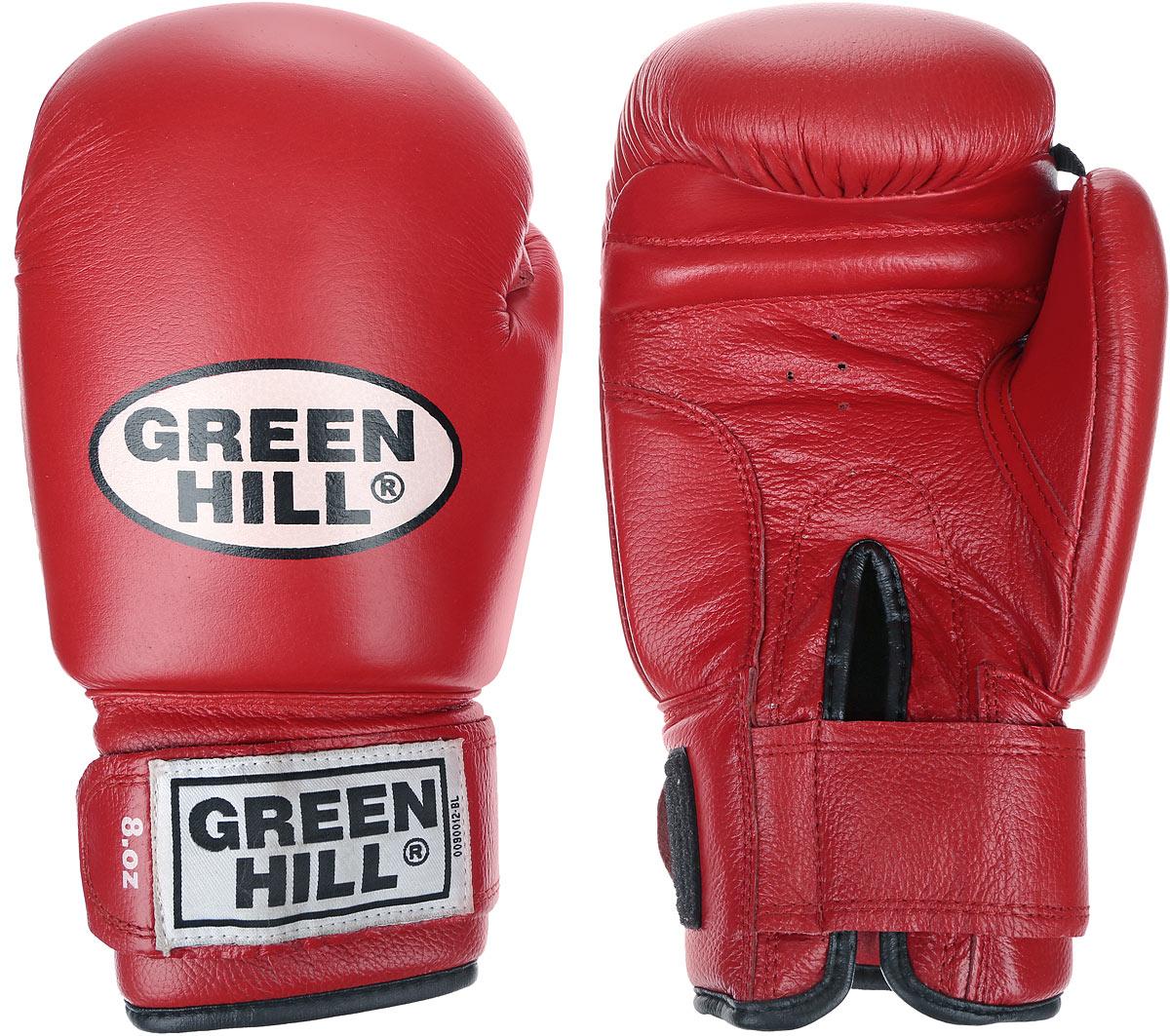 Перчатки боксерские Green Hill Tiger, цвет: красный, белый. Вес 8 унций. BGT-2010сBGG-2018Боевые боксерские перчатки Green Hill Tiger применяются как для соревнований, так и для тренировок. Верх выполнен из натуральной кожи, вкладыш - предварительно сформированный пенополиуретан. Манжет на липучке способствует быстрому и удобному надеванию перчаток, плотно фиксирует перчатки на руке. Отверстия в области ладони позволяет создать максимально комфортный терморежим во время занятий.В перчатках применяется технология антинокаут.