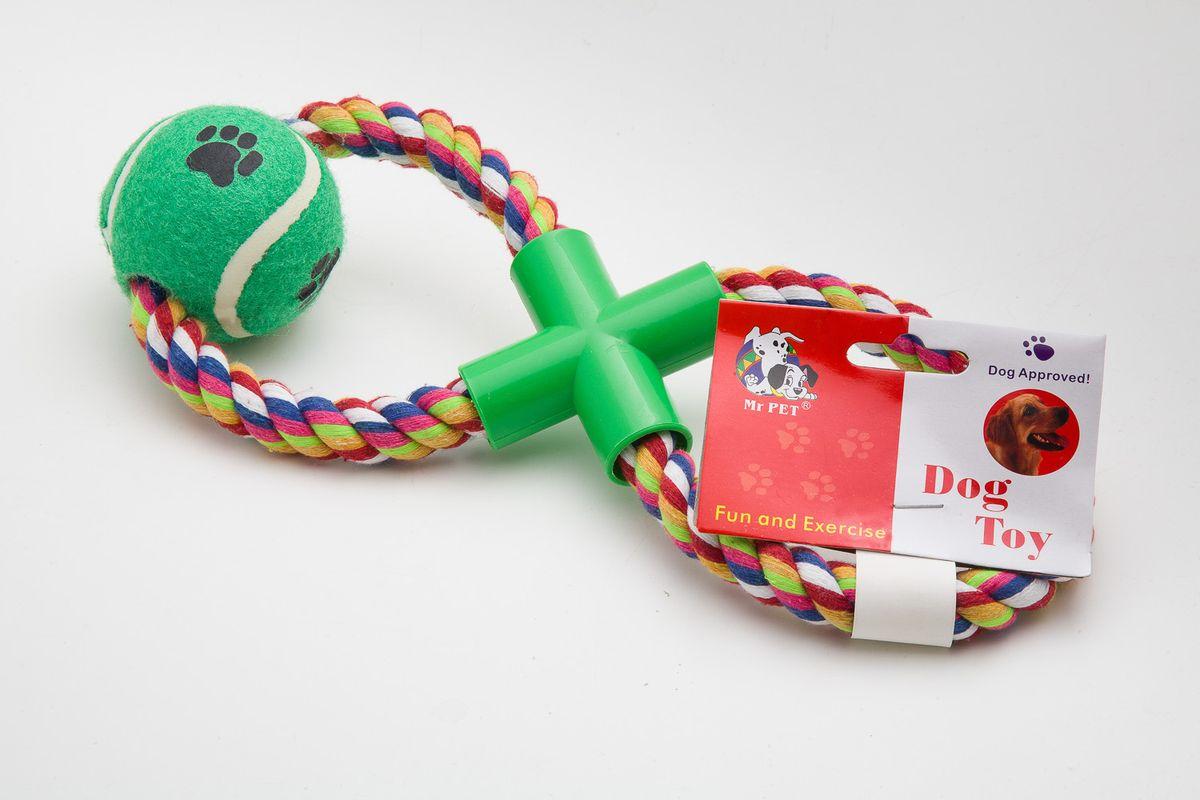 Игрушка для собак MrPet Восьмерка с мячом, канатная, длина 43 см02015021чКанатная игрушка MrPet Восьмерка с мячом отлично подойдет для тренировки прыжков и игры в перетяжки. Мяч на веревке можно запустить гораздо дальше, чем обычный мяч, что прибавляет собаке азарта в погоне за ним.Игрушка изготовлена из текстиля, полиэстера и пластика. Изделие является экологически чистым и абсолютно безопасным для собак. Длина игрушки: 43 см.