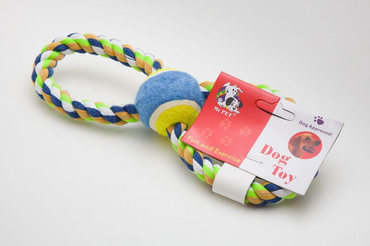 Игрушка для собак MrPet Восьмерка с мячом, канатная, длина 25 смWD3032Канатная игрушка MrPet Восьмерка с мячом отлично подойдет для тренировки прыжков и игры в перетяжки. Мяч на веревке можно запустить гораздо дальше, чем обычный мяч, что прибавляет собаке азарта в погоне за ним.Игрушка, изготовленная из текстиля, полиэстера и пластика, нетоксичная, экологически чистая и абсолютно безопасна для собак. УВАЖАЕМЫЕ КЛИЕНТЫ!Обращаем ваше внимание на возможные изменения в дизайне, связанные с ассортиментом продукции: дизайн может отличаться от представленного на изображении. Поставка осуществляется в зависимости от наличия на складе.Длина игрушки: 25 см.