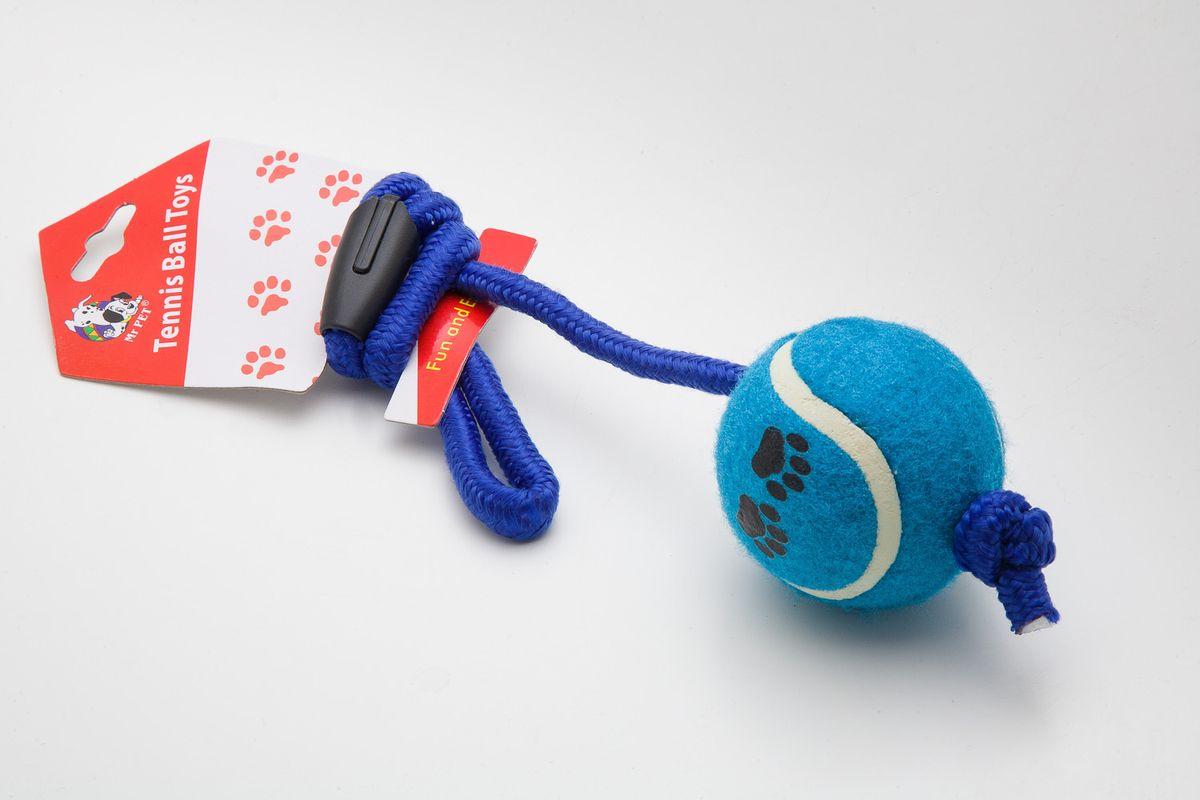 Игрушка для собак MrPet Тянучка с мячом, длина 51 см0120710Игрушка MrPet Восьмерка с мячом отлично подойдет для тренировки прыжков и игры в перетяжки. Мяч на веревке можно запустить гораздо дальше, чем обычный мяч, что прибавляет собаке азарта в погоне за ним.Игрушка, изготовленная из хлопка, полиэстера, текстиля и пластика, нетоксичная, экологически чистая и абсолютно безопасна для собак. Длина игрушки: 51 см.