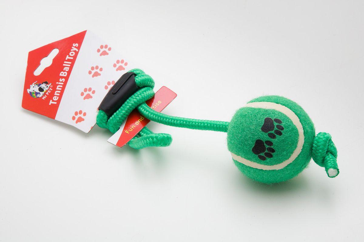 Игрушка для собак MrPet Тянучка с мячом, цвет: зеленый, длина 51 см0120710Игрушка MrPet Восьмерка с мячом отлично подойдет для тренировки прыжков и игры в перетяжки. Мяч на веревке можно запустить гораздо дальше, чем обычный мяч, что прибавляет собаке азарта в погоне за ним.Игрушка, изготовленная из хлопка, полиэстера, текстиля и пластика, нетоксичная, экологически чистая и абсолютно безопасна для собак. Длина игрушки: 51 см.