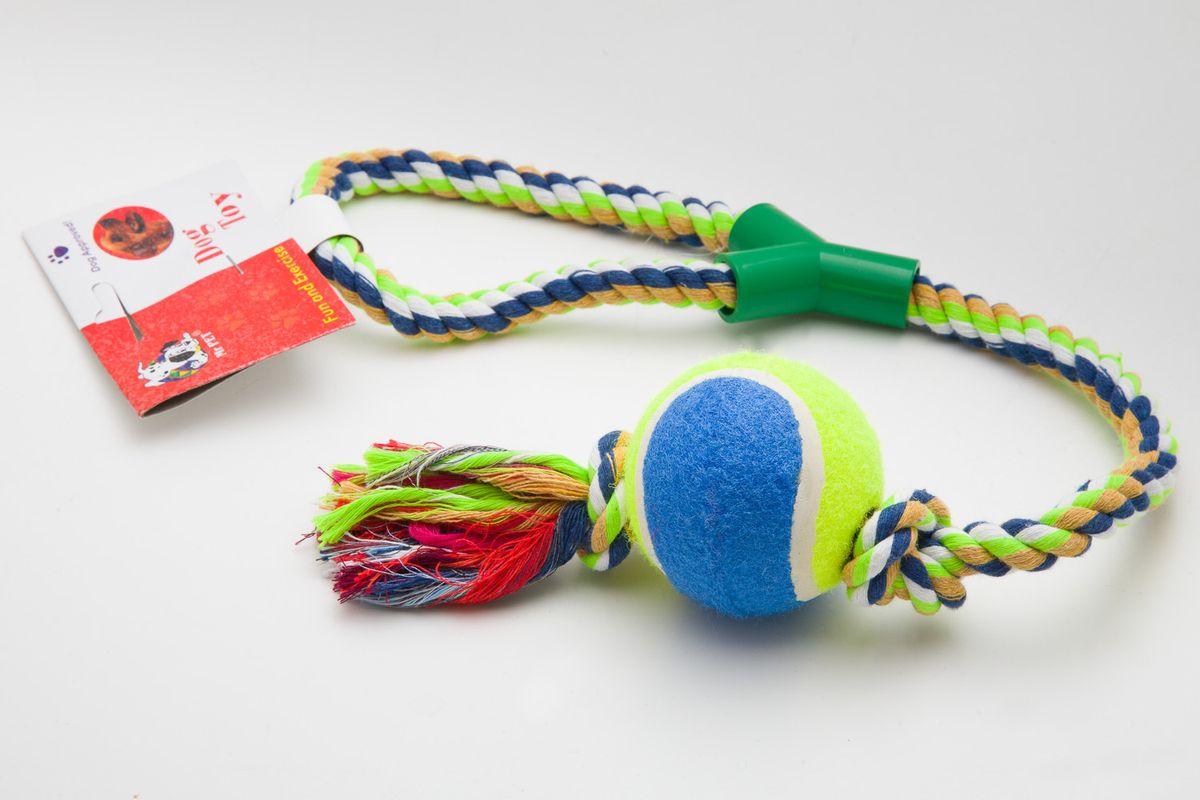 Игрушка для собак MrPet , канатная, с мячом, длина 53 смDM-160128-4Канатная игрушка с мячом MrPet отлично подойдет для тренировки прыжков и игр. Мяч на веревке можно запустить гораздо дальше, чем обычный мяч, что прибавляет собаке азарта в погоне за ним.Игрушка, изготовленная из хлопка и полиэстера, нетоксична, экологически чистая и абсолютно безопасна для собак. Длина игрушки: 53 см.