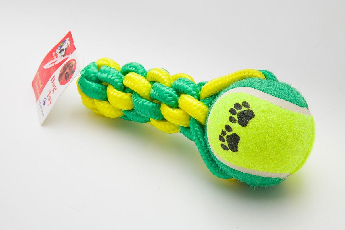 Игрушка для собак MrPet , канатная, с мячом, длина 16,5 см0120710Канатная игрушка с мячом MrPet отлично подойдет для тренировки прыжков и игр. Мяч на веревке можно запустить гораздо дальше, чем обычный мяч, что прибавляет собаке азарта в погоне за ним.Игрушка, изготовленная из хлопка и полиэстера, нетоксична, экологически чистая и абсолютно безопасна для собак. Длина игрушки: 16,5 см.