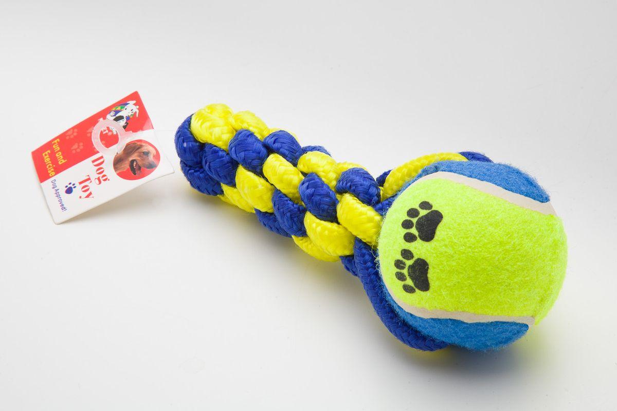 Игрушка для собак MrPet , канатная, с мячом, цвет: неоновый желтый, синий, длина 16,5 смDТ-7335Канатная игрушка с мячом MrPet отлично подойдет для тренировки прыжков и игр. Мяч на веревке можно запустить гораздо дальше, чем обычный мяч, что прибавляет собаке азарта в погоне за ним.Игрушка, изготовленная из хлопка и полиэстера, нетоксична, экологически чистая и абсолютно безопасна для собак. Длина игрушки: 16,5 см.