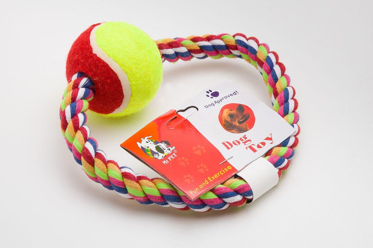 Игрушка для собак MrPet Кольцо с мячом, канатная, цвет: неоновый желтый, красный, длина 15 см03454Канатная игрушка MrPet Кольцо с мячом, изготовленная из текстиля и полиэстера, отлично подойдет для тренировки прыжков и игр. Мяч на веревке можно запустить гораздо дальше, чем обычный мяч, что прибавляет собаке азарта в погоне за ним.Длина игрушки: 15 см.