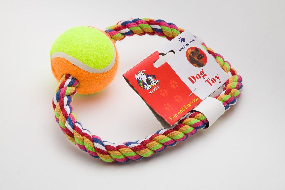 Игрушка канатная MrPet Кольцо с мячом, цвет: желтый, оранжевый, 15 см00000046кКанатная игрушка MrPet Кольцо с мячом изготовлена из текстиля и полиэстера. Она отлично подойдет для тренировки прыжков и игр. Мяч на веревке можно запустить очень далеко, что прибавляет собаке азарта в погоне за ним.