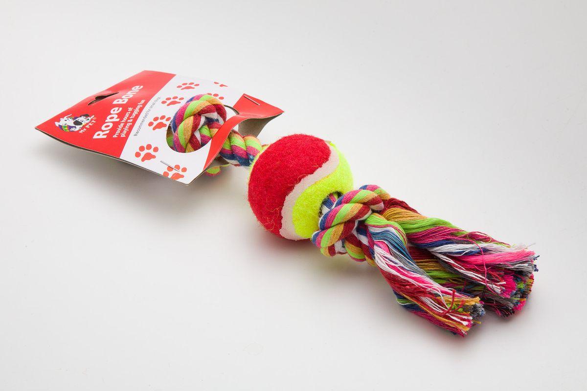 Игрушка канатная MrPet, с теннисным мячом, 18 см. 2108a2108aИгрушка канатная MrPet с теннисным мячом выполнена из хлопка и полиэстера. Это прекрасная развивающая игрушка. Она удовлетворяет охотничьи инстинкты и балансирует нервную систему вашего питомца.