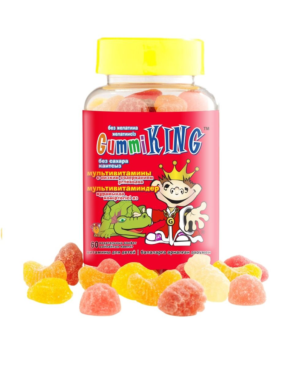 Драже жевательное Gummi King Sugar Free Multivitamin, для детей от 2 лет и подростков, 60 штV0000007972Для правильного роста и развития вашего ребёнка ему обязательно нужны витамины. Витамины оказывают огромное влияние на рост и аппетит, формирование иммунной и нервной систем, укрепление мышц и костей, здоровье глаз и многое другое. Мы собрали наиболее важные витамины в один комплекс, добавили к нему экстракты фруктов и яблочный пектин и получили натуральный витаминный комплекс в виде вкусных жевательных конфет, которые точно понравятся вашему малышу.Что в составе:Витамин А отвечает за здоровье кожи, поддерживает зрение и полезен для роста. Витамины группы В – это энергия, бодрость и крепкая нервная система. Витамин С укрепляет иммунитет и помогает бороться с инфекционными заболеваниями, а витамин D укрепляет кости и зубы и рекомендуется тем, кто злоупотребляет конфетами и страдает от кариеса. Яблочный пектин благотворно воздействует на микрофлору кишечника и снижает риск развития дисбактериоза.Особенно полезен комплекс Gummi Sugar Free Multivitamin:часто болеющим детямдетям с избытком весадетям, у которых проблемы с зубами и дёснамидетям, занимающимся спортомгиперактивным и неусидчивым детямлюбителям сладостей и газированных напитковВсе витамины Gummi King гипоаллергенны: в их составе отсутствуют пшеница (глютен), молоко, яйца, соя, арахис и другие орехи, искусственные ароматизаторы и консервантыРЕКОМЕНДАЦИИ К ПРИМЕНЕНИЮ:детям с 2 до 4 лет – 1 пастилка х 1 раз в день; 4 года и старше - 1 пастилка х 2 раза в деньНе рекомендуем сочетать: с витаминами для глазПротивопоказания: индивидуальная непереносимость компонентов, аллергия на морковь, свёклу, куркуму и ежевику.Товар не является лекарственным средством. Могут быть противопоказания и следует предварительно проконсультироваться со специалистом.