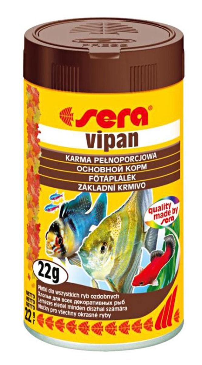 Sera Vipan Корм для декоративных рыб, хлопья 100мл0120710Классика - хлопьевидный корм для декоративных рыб в аквариумах со смешанным сообществом.sera випан - идеальный основной корм для рыб в аквариумах со смешанным сообществом. Сбалансированный состав удовлетворяет потребности множества видов. Бережная обработка гарантирует сохранение ценных ингредиентов (например, жирных кислот Омега, витаминов и минералов). Метод его приготовления, применяемый фирмой sera, позволяет хлопьям сохранять свою форму в течение длительного времени, не загрязняя воду. Благодаря уникальной очень высокой степени измельчения, хлопья в тоже время очень нежны и поэтому охотно поедаются рыбой. Доступен в обычной форме и в форме крупных хлопьев.