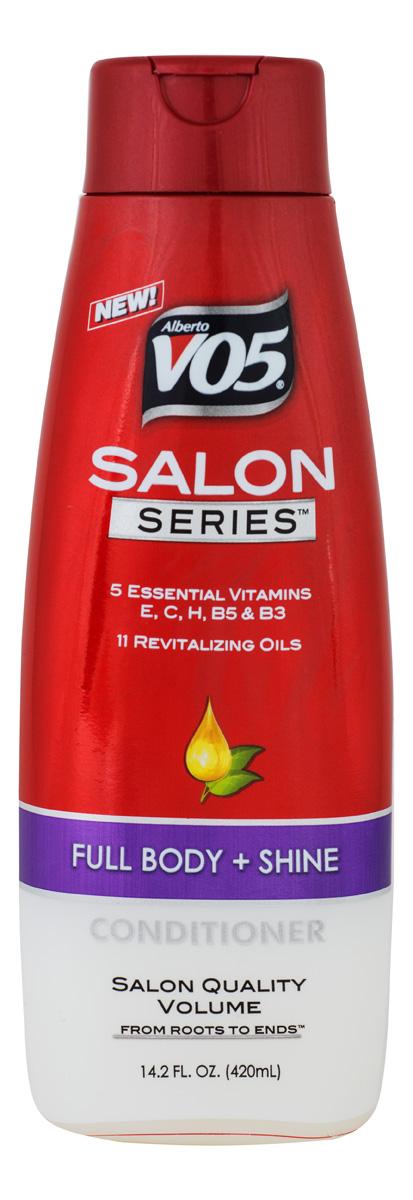 VO5 Кондиционер Conditioner Salon Series FULL BODY + SHINE, 420 мл4604903000233Кондиционер серии Full body не утяжеляет волосы, обеспечивает легкое расчесывание и укладку.Стимулирует, увлажняет, питает и защищает волосы от ежедневных стрессов