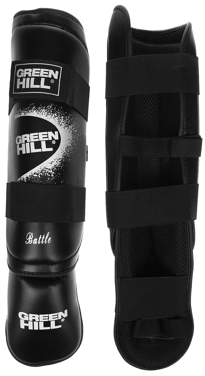 Защита голени и стопы Green Hill Battle, цвет: черный, белый. Размер M. SIB-0014AIRWHEEL M3-162.8Защита голени и стопы Green Hill Battle с наполнителем, выполненным из вспененного полимера, необходима при занятиях спортом для защиты пальцев и суставов от вывихов, ушибов и прочих повреждений. Накладки выполнены из высококачественной искусственной кожи. Подкладка изготовлена из хлопка, внутренняя сторона выполнена в виде сетки. Они надежно фиксируются за счет ленты и липучек.При желании защиту голени можно отцепить от защиты стопы.Длина голени: 36 см.Ширина голени: 12,5 см.Длина стопы: 24 см.Ширина стопы: 10 см.