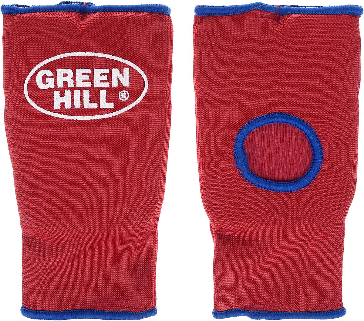 Защита на кисть Green Hill, цвет: красный, синий. Размер L. HP-0053SPC-6210Защита на кисть Green Hill предназначена для занятий различными видами единоборств. Она защищает руки от синяков, вывихов и ушибов. Защита изготовлена из хлопка с эластаном, мягкие вкладки изготовлены из вспененного полимера. Растягивается до 40%.