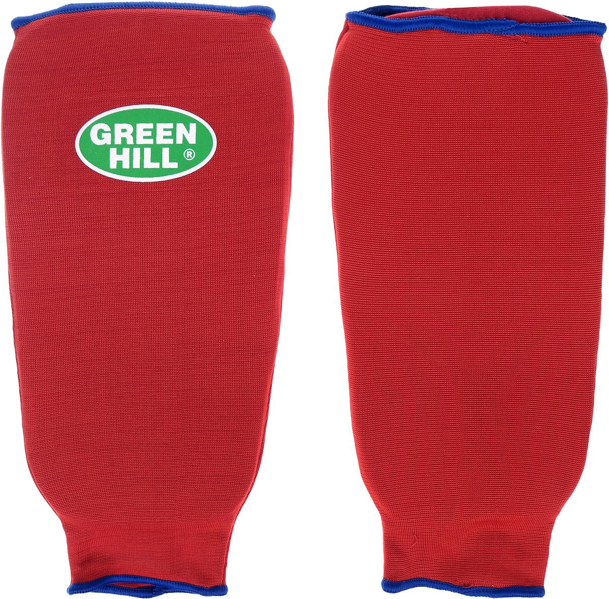 Защита голени Green Hill, цвет: красный, синий. Размер L. SPC-6210AU03011Защита голени Green Hill с наполнителем, выполненным из вспененного полимера, необходима при занятиях спортом для защиты суставов от вывихов, ушибов и прочих повреждений. Накладки выполнены из высококачественного эластана и хлопка.Длина голени: 28 см.Ширина голени: 16 см.